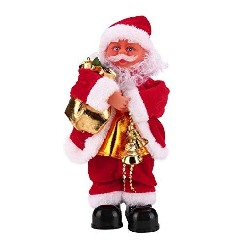 Oksale Santa Claus Baby Soft Plush Toy Singing Stuffed Animated Doll Christmas Gift Singing Toy (A) (Animated Christmas Dolls)