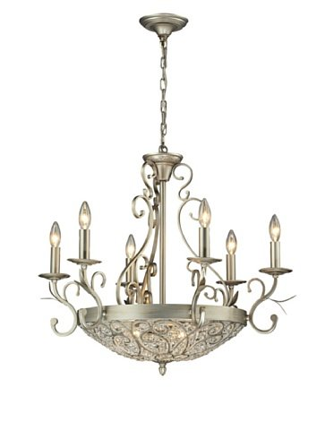 - Elk Lighting 11696/6+3 Andalusia Collection 6+3 Light Chandelier, Aged Silver
