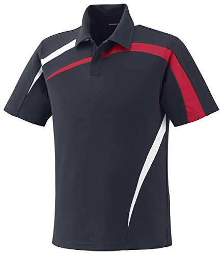 North End Impact Perf Polyester Pique Colorblock Polo (88645) -BLKSILK 866 (Colorblock Pique Polo)