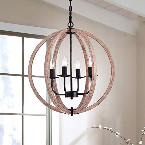 The Lighting Store Benita Natural Wood Orb Chandelier in Antique Black