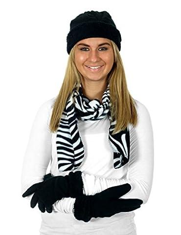 Women's 3 Piece Micro Fleece Hat, Scarf & Gloves Winter Set (Zebra)