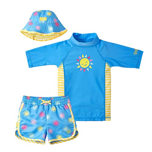 UV SKINZ UPF 50+ Girls 3-Piece Swim Set (5, Blue Glitter Suns)
