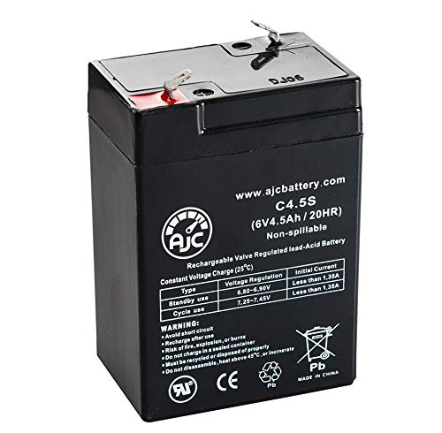 Leoch DJW6-4L 6V 4.5Ah Sealed Lead Acid Battery - This is an AJC Brand Replacement