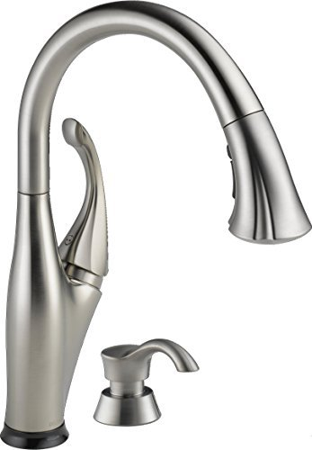Delta Faucet 9192T-SSSD-DST Addison Single Handle Pull-Down Kitchen Faucet with Touch2O Technology and Soap Dispenser, Stainless -  5784283