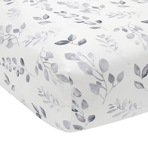 Lambs & Ivy Painted Forest Cotton Fitted Crib Sheet - Gray, White, Outdoors