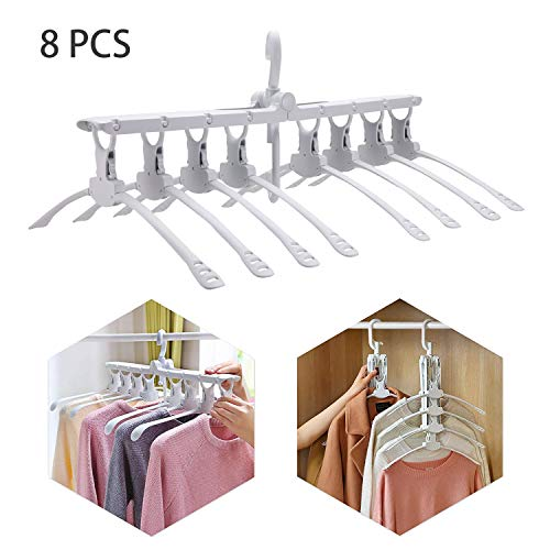 Buyplus Clothes Folding Travel Hangers - Magic Garment Collapsible Camping Hanger, 360°Rotating Space Saving Clothing Storage for Home Multi-Function Portable Retractable Non Slip Plastic Drying Rack