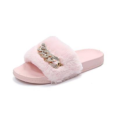 5b25d77e96bde Rimocy Women Fur Slippers Fashion Rhinestone Chain Soft Plush Warm Home  Slides Comfortable Woman Leisure Indoor