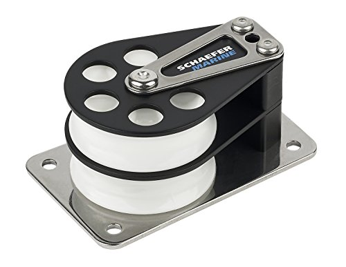 Double Cheek Block - Schaefer 5 Series Double Cheek Block with Aluminum Cheek, Stainless Steel Base and Aluminum Sheave
