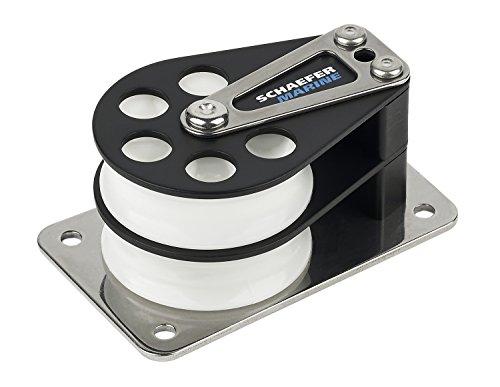 Sheave Cheek Block (Schaefer 5 Series Double Cheek Block with Aluminum Cheek, Stainless Steel Base and Aluminum Sheave)