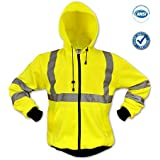 KwikSafety High Visibility Hoodie Long Sleeve Reflective ANSI Safety High Visibility Jackets, Sweatshirt with Elastic Knit, Black Cuffs, Waist, and Zipper, with Two Side Pockets, Size 2XL