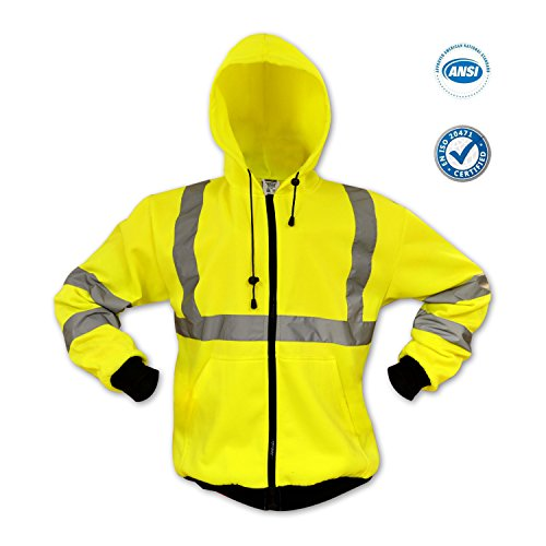 KwikSafety Class 3 High Visibility ANSI Reflective Hoodie Long Sleeve Safety Fleece lined Sweatshirt, Heavy Duty Zipper Insulated Hood, Two Side Pockets, ANSI/ISEA 107-2010 Level 3, Yellow Size Large