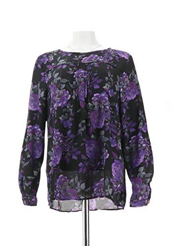 - Susan Graver Printed Feather Weave Top Shoulder Trim Black Purple 12 New A285034