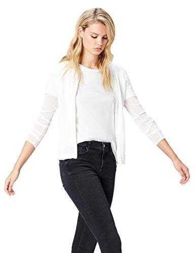 Sheer FIND Femme Blanc Ivory Bomber Sleeve Pull d1UUSw
