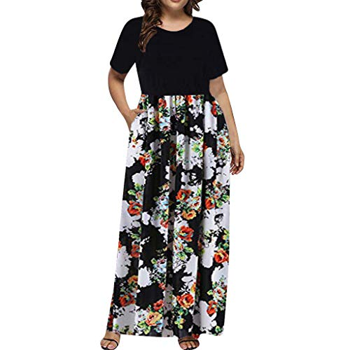 (TYPEIN Women's Plus Size Dress Long Maxi Dress Print Summer Straight Short Sleeve Casual)