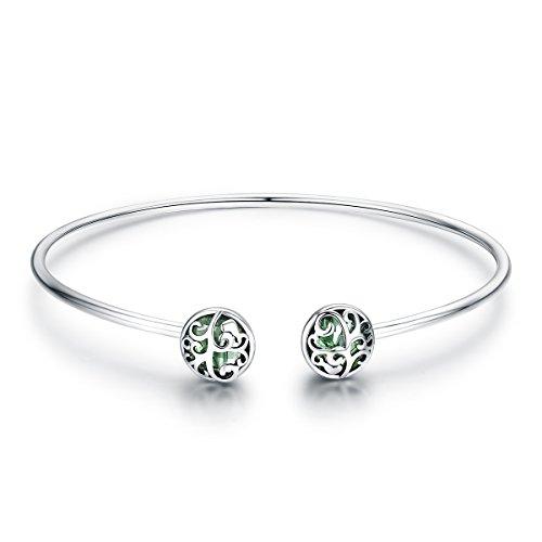 925 Sterling Silver Tree of Life Green Crystal CZ Women Open Cuff Bangle & Bracelet Jewelry