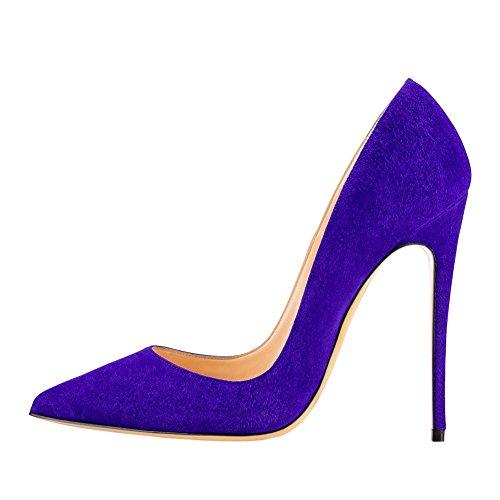 EKS - Zapatos de Tacón Mujer Königsblau-Wildleder