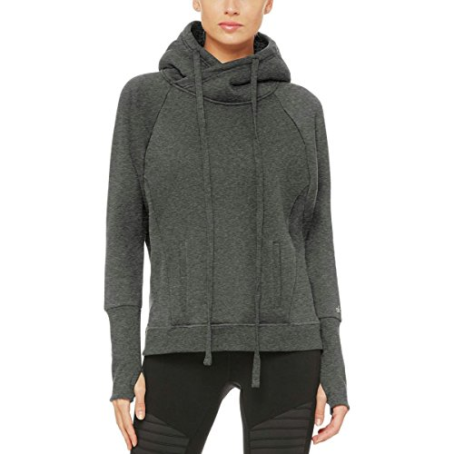 Alo Yoga Frost Long-Sleeve Pullover Hoodie - Women's Charcoal Heather/Black, M by Alo Yoga