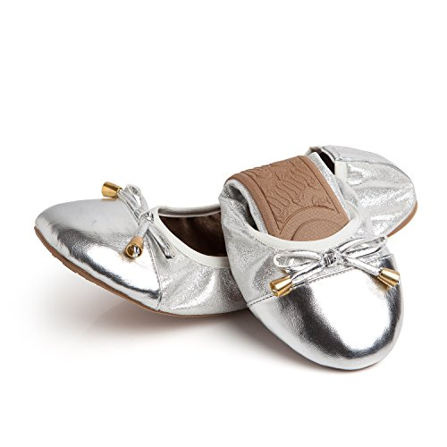 Talaria Flats Womens Foldable Ballet Flats Size 9 Silver