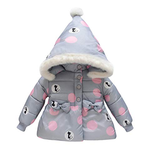 Price comparison product image MaxFox Coat Infant Toddler Girl Jacket Hoodie Bow Winter Thick Overcoat Outwear Snowsuit Kids Velvet Clothes (Gray,  18-24 Months)