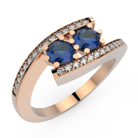 HABY DUO P Bagues Or Rose 18 carats Saphir Bleu 1,2 Rond