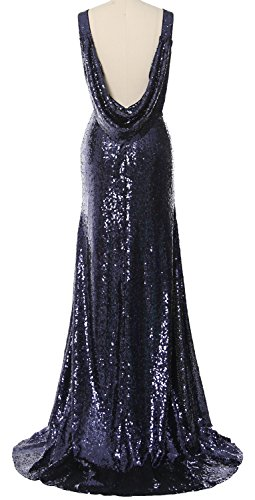 MACloth Women Cowl Back Sequin Bridesmaid Dress Long Formal Party Evening Gown Morado