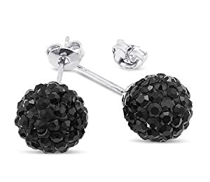 AllyDrew Black Crsytal Shamballa Ball Stud Sterling Silver Earrings, 6mm from AllyDrew