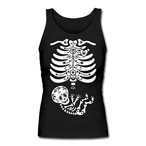 Spreadshirt Skeleton X Ray Sugar Skull Baby Women's Longer Length Fitted Tank, S, -