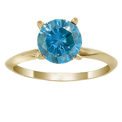 1.50 CT Blue Diamond Solitaire Ring 14K Yellow Gold In Size 7 (Available In Sizes 5 – 10)