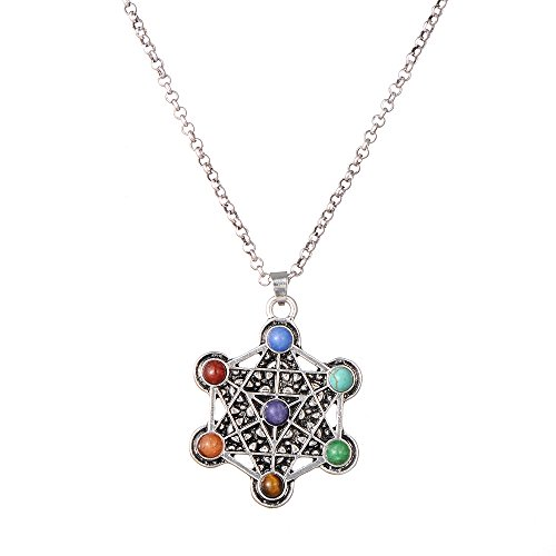 PSEEHEE Metatron's Cube Merkaba Sacred Geometry 7 Chakra Healing Crystals Necklace, Reiki Stones Pendant Jewelry ()
