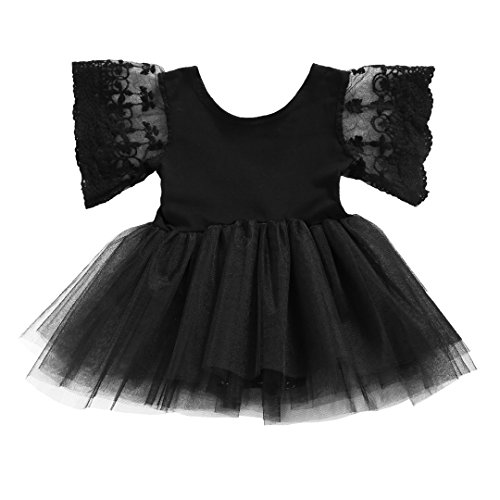 Baby Girls Lace Sleeve Tutu Dress Romper Bodysuit (0-6 Months, Black)