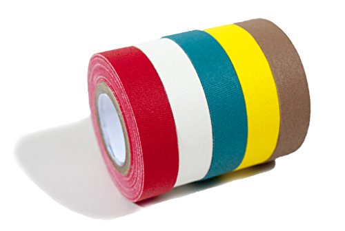 Professional Grade Bright Colored Gaffer Tape - 5 pack. Cloth matt finish in red, white, yellow, teal & tan. Great for stage, film, parties and art projects. Each gaff roll is 18 feet by .5 inches.