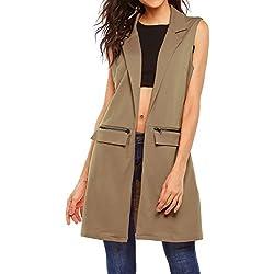 Beyove Women's Sleeveless Long Open Cardigan Vest Blazer Vests,XX-Large,Khaki