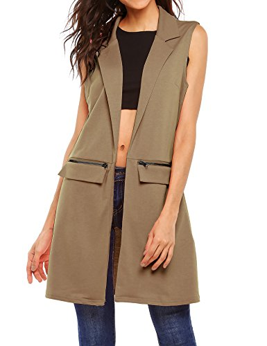 Beyove Women's Sleeveless Long Open Cardigan Vest Blazer Vests,XX-Large,Khaki
