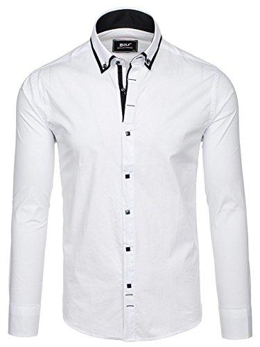 Coton 2b2 – Fit Unie Couleur Chemise Élégante Slim Blanc Bolf Homme aScWqpXywx