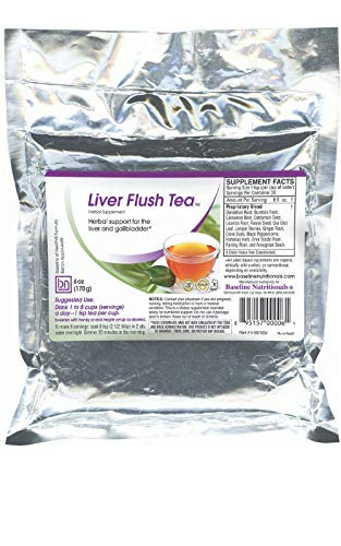 Baseline Nutritionals Liver Flush Tea – 15 Powerful Herbs Such as Dandelion Root, Burdock, Uva Ursi Leaf, Erva Tostao