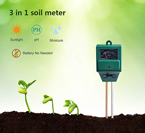 (Iusun Soil Tester, 3 in 1 Soil Moisture/Light/pH Meter Tester Gardening Tool- for Plant, Vegetables, Garden, Lawn, Farm, Indoor & Outdoor Use - Plug and Read Gardening Care Tool Kits (Green))