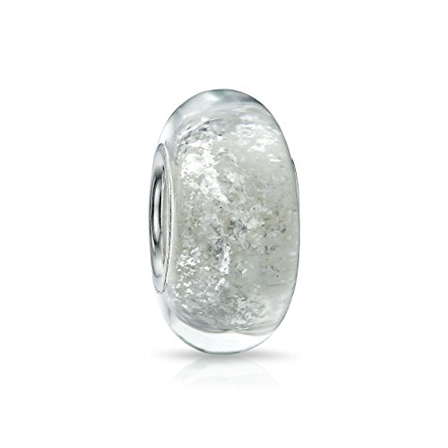 Bling Jewelry white Murano Glitter glass Rainbow Foil Round Bead Charm .925 Sterling Silver (Rainbow Murano Glass)