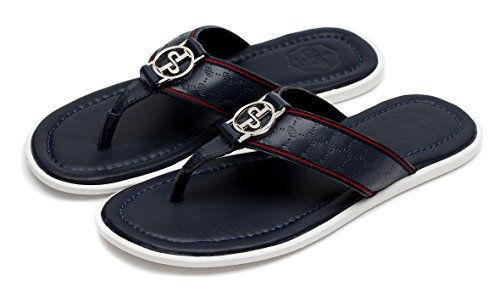 OPP Men's Classic Leather Anti-Skidding Flip-Flops Slippers Blue SCKoBlIfl8