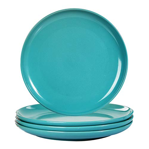 Warebest Salad Plates,4-Piece Ceramic Dinner Plates,Elegant Glaze Finish Round Serving Plate