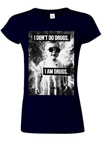 オピエート測定腐食するI Don`t Do Drugs I`m Drugs Novelty Navy Women T Shirt Top-XXL