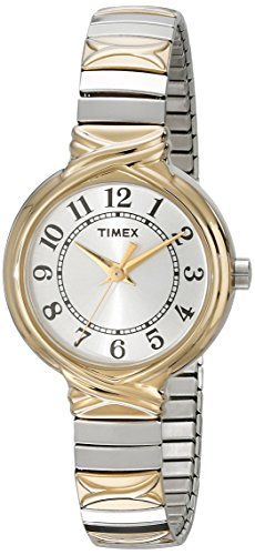 Timex Women's T2N979 Sierra Street Two-Tone Stainless Steel Expansion Band Watch (No Dial Band White Expansion)