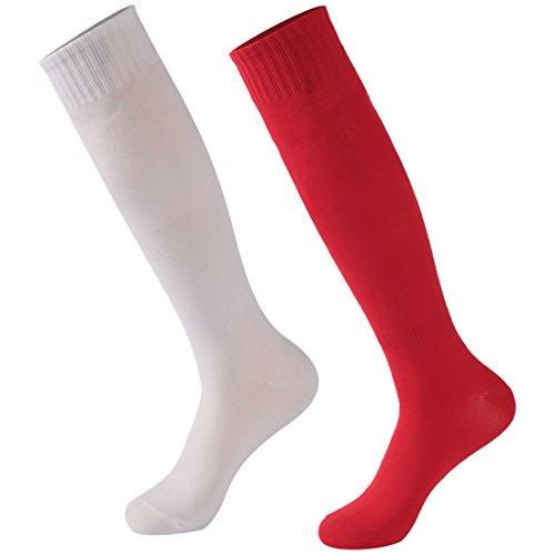 Calbom Funky Knee Socks, Dress Woman High Socks Solid Color Football Soccer Team Sports Tube Long School Uniform Festive Cosplay Socks 2 Pairs White/Black Gift for Students
