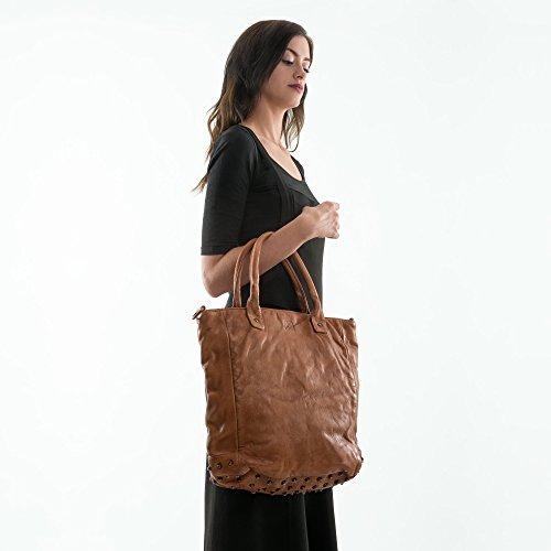Borsa DUDU tinta lavata pelle e borchie tracolla con Onyx Brown capo in in RO6Rnqpw