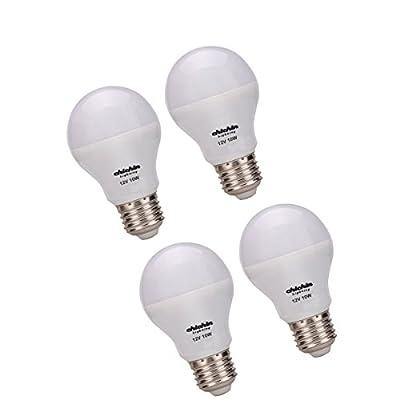 ChiChinLighting LED 12volt 10watt Daylight White Bulbs 10w LED Light Bulbs E26 E27 AC DC 12v System Marine RV Solar Off Grid (4-pack)