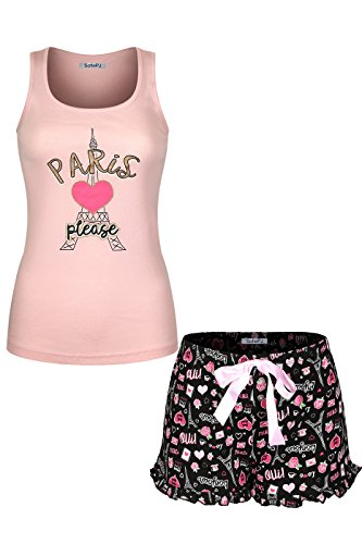 SofiePJ Women's Printed Cotton Pajama Set Jersey Racerback Tank Top with Short Pants Pink Black L (Short Paris)