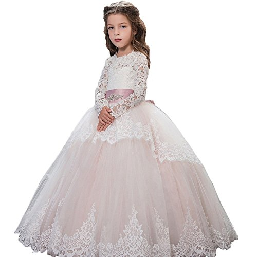 Princess Style Prom Gowns (Fancy Lace Flower Girls Dresses 0-12 Year Old Pink Size 10)