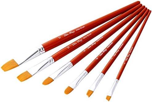 メイクブラシ 水彩オイルはアクリル画の絵画に適し6本のスティックオレンジレッドポールナイロンコンビネーションブラシセットガッシュ水彩オイルブラシセット 化粧筆フェイスブラシ (色 : 赤, Size : Free size)