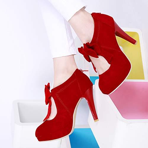Rouge Studio Aiguille Soirée Femme Y2Y Plateforme Elegant Noeud Escarpins Femmes Mariage Sexy Talon 7wn0Cdqw