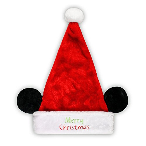 (Disney Mens Ladies' Mickey Mouse Minnie Mouse Plush Santa Hat with Ears (Mickey Mouse, Merry Christmas))