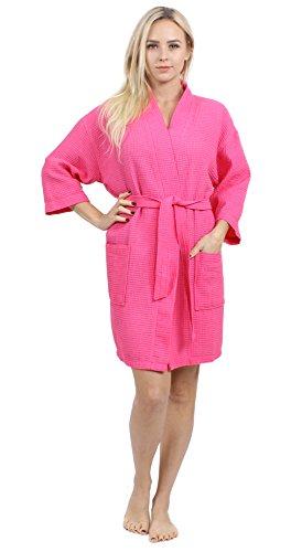 Turkuoise Women's Turkish Cotton Knee Length Lightweight Bridesmaids Waffle Kimono Robe (Small/Medium,Fuchsia)